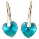 Großhandel Ohrringe: Silberohrringe mit -Swarovski-Herz Blau Zirc. AB