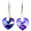 silver earrings  with swarovski Heart Heliotrope
