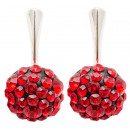 silver earrings  with swarovski Chaton Ball Lt Siam