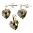 silver set with swarovski Heart Black Diamond AB