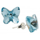 Silberohrringe mit Swarovski-Schmetterling Aqua