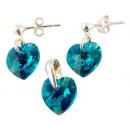 silver Set with swarovski Heart Blue Zircon AB