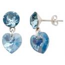 silver earrings  with swarovski Xirius Heart Aqua