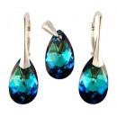 silver set with swarovski Pear Bermuda Blue