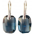 silver earrings  with swarovski Graphic Denim Blue