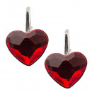 silver earrings  with swarovski Heart Lt. Siam