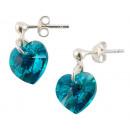 orecchini d'argento con swarovski Cuore Blu Zi