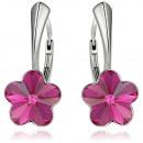 orecchini d'argento con Swarovski fiore fucsia
