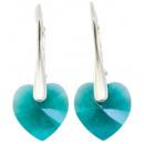 Silberohrringe mit Swarovski-Herz-Smaragd-