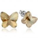 Großhandel Schmuck & Uhren: Silberne Ohrringe  mit Swarovski Butterfly Golden