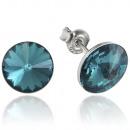 Großhandel Schmuck & Uhren: Silber-Ohrringe  mit swarovski Rivoli Blue Zircon