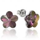 Großhandel Schmuck & Uhren: Silber-Ohrringe mit swarovski Blume LiliacShadow
