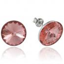 groothandel Sieraden & horloges: Zilveren oorbellen  met swarovski Rivoli Peach Rose