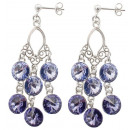silver earrings with swarovski Chandelier Lavender