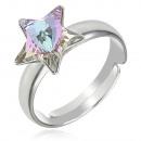 Großhandel Schmuck & Uhren: Silber Ring mit  Swarovski Stern Vitrail Licht