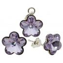 argento con Swarovski fiore Provence Lavender