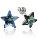 Großhandel Schmuck & Uhren: Silberohrringe mit Swarovski Stern Bermuda Blue