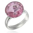 groothandel Ringen: Zilveren Ring met  swarovski Rivoli Light Rose