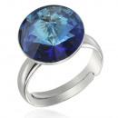 Silver Ring with swarovski Rivoli Bermuda Blue