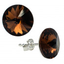 wholesale Jewelry & Watches: silver earrings  with swarovski Rivoli Smoked Topaz