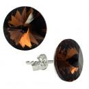 silver earrings  with swarovski Rivoli Smoked Topaz