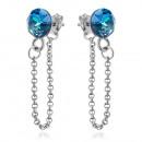 Silver Earrings with Swarovski Xirius Chain Bermud