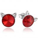 Silver Earrings with Swarovski Rivoli Cat Lt Siam