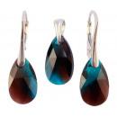 silver set with  swarovski Pear Burgundy Blue Zirc
