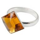 groothandel Ringen: Zilveren ring met  swarovski Squares Sahara Topaz