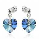 silver earrings  with swarovski Heart Bermuda Blue