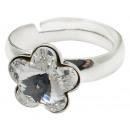 Grosshandel Pflanzen & Töpfe: Silberring mit  Swarovski Blume Crystal Clear