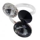 groothandel Ringen: Zilveren ring met swarovski Tri Rivoli