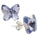 silver earrings  with swarovski Butterfly Lavender