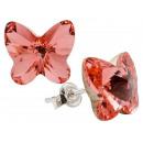 Silberohrringe mit Swarovski-Schmetterling RosePea