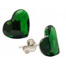 orecchini d'argento con swarovski Cuore Verde