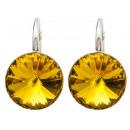 silver earrings with swarovski Rivoli Sunflower