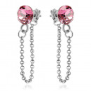 Silver Earrings with Swarovski Xirius Chain Rose