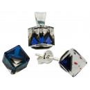 silver Set with  swarovski Cubic 8 Bermuda Blue