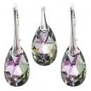 silver set with swarovski Pear Vitrail Light