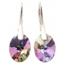 silver earrings  with swarovski Oval Vitrail Light