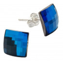 silver earrings  with swarovski Chessboard Bermuda