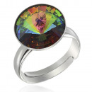 groothandel Ringen: Zilveren Ring met  swarovski Rivoli Vitrail Medium