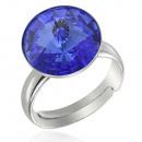 groothandel Sieraden & horloges: Zilveren ring met  swarovski Rivoli Sapphire