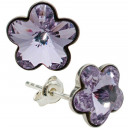 wholesale Jewelry & Watches: silver earrings  with swarovski Flower Lavender