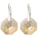 silver earrings  with swarovski Octagon Golden