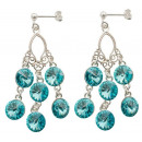 silver earrings with swarovski Chandelier Tuquoise