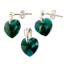 wholesale Jewelry & Watches: silver Set with swarovski Heart Emerald