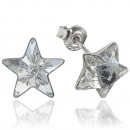 silver earrings with swarovski Star Crystal Clear