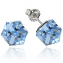 silver earrings  with swarovski Cubic Aquamarine