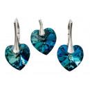 groothandel Sieraden & horloges: zilver bezet met  Swarovski Hart Bermuda Blue